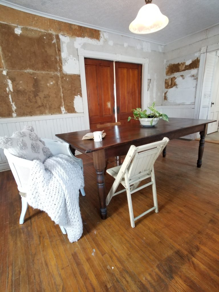 Farmhouse dining room renovation restoration before and after