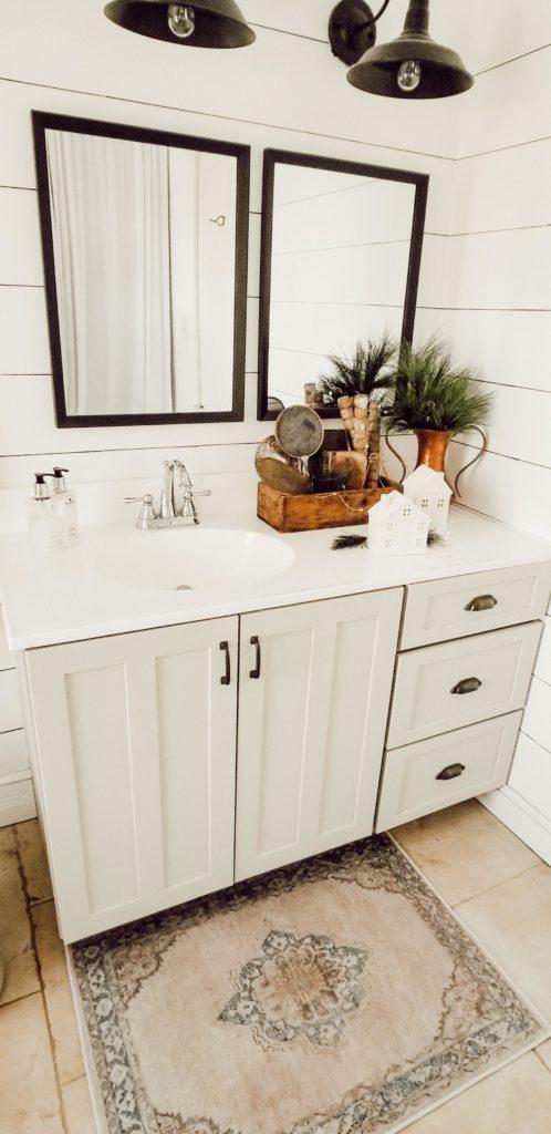 Farmhouse DIY Neutral Bathroom Gel Pro Rug